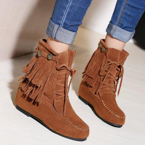 Shops Stitching Hidden Wedge Lace Up Boots BROWN 39