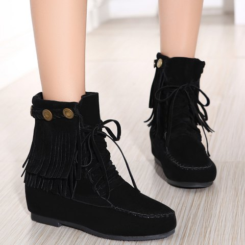 Stitching Hidden Wedge Lace Up Boots - Black - 37