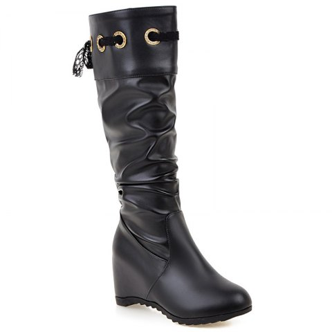 Outfit Hidden Wedge Faux Leather Boots
