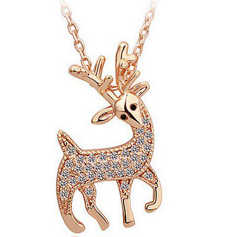 Rhinestone Fawn Pendant Necklace - ROSE GOLD