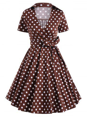 Cheap Retro Hepburn Style Polka Dot Bowknot Belted Wrap Dress COFFEE XL