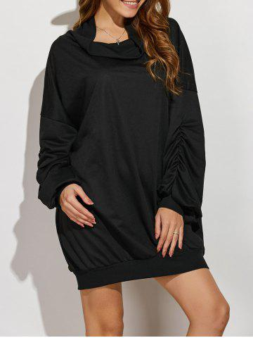 Shop Active Cowl Neck Ruched Sleeve Sweatshirt Dress