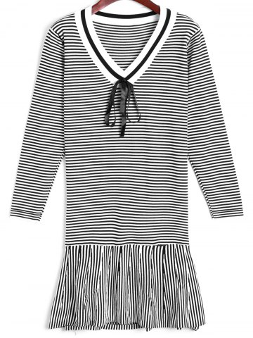 Outfits Flounce Striped Sweater Dress