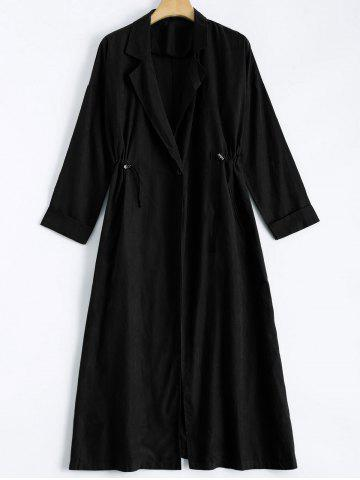 Online Lapel Collar Back Slit Maxi Trench Coat