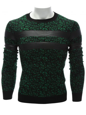 Affordable Crew Neck PU Leather Stripe Spliced Sweater GREEN 3XL
