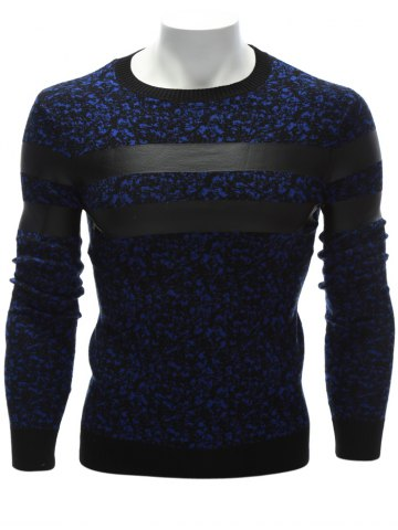 New Crew Neck PU Leather Stripe Spliced Sweater - L BLUE Mobile