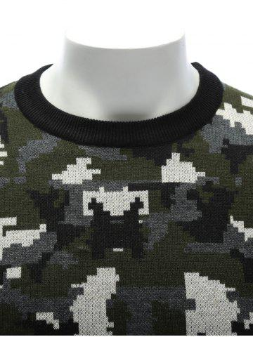 Fancy Crew Neck Camouflage Sweater - XL COLORMIX Mobile