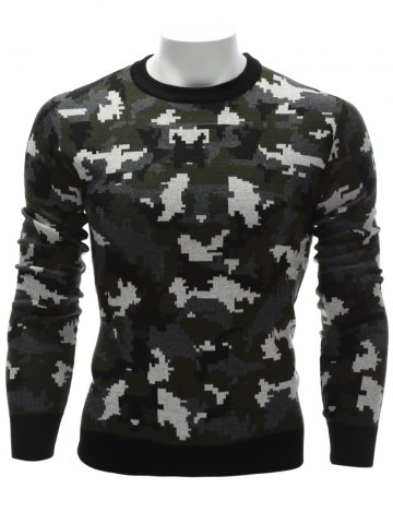 Latest Crew Neck Camouflage Sweater - L COLORMIX Mobile