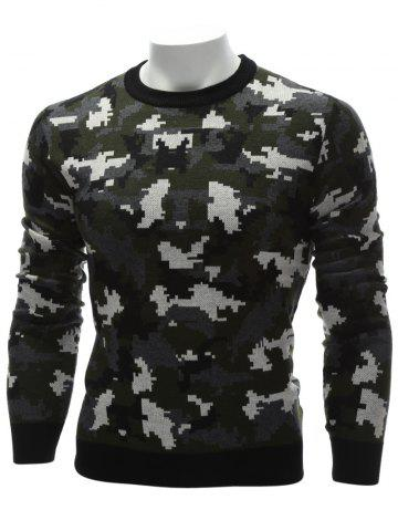 Fancy Crew Neck Camouflage Sweater - M COLORMIX Mobile