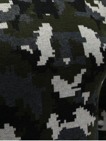 Online Crew Neck Camouflage Sweater - M COLORMIX Mobile