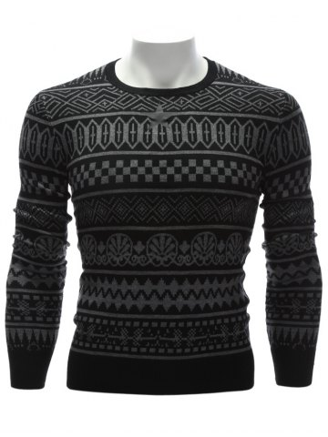 Outfit Crew Neck Ethnic Style Geometric Graphic Sweater - L BLACK Mobile