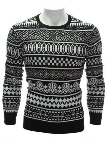 Discount Crew Neck Ethnic Style Geometric Graphic Sweater - 3XL WHITE Mobile