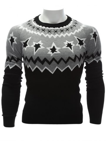 Crew Neck Color Block Waviness Graphic Sweater - BLACK AND GREY - M