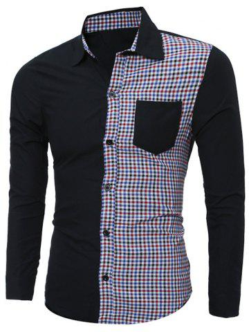 Outfit Plaid Splicing Long Sleeve Shirt - 2XL BLACK Mobile