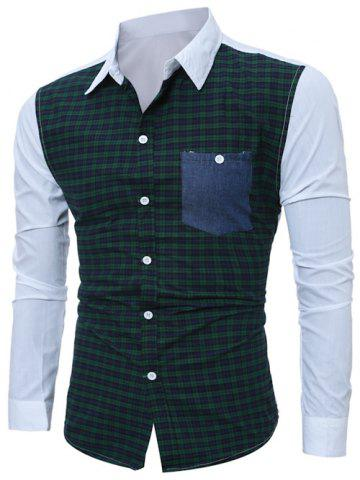 Chic Tartan Splicing Long Sleeve Shirt - M GREEN Mobile