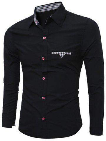Buy Plaid Edging Spliced Long Sleeve Shirt BLACK 2XL