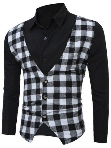Fancy Faux Twinset Checked Vest Spliced Long Sleeve Shirt - 2XL BLACK Mobile