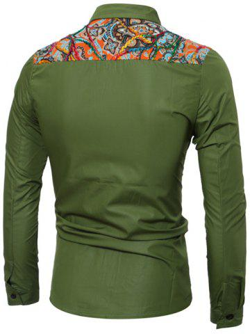 Affordable Colorful Floral Spliced Long Sleeve Pocket Shirt - XL GREEN Mobile