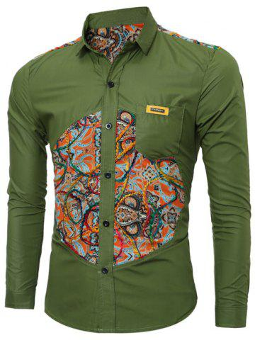 Latest Colorful Floral Spliced Long Sleeve Pocket Shirt - XL GREEN Mobile