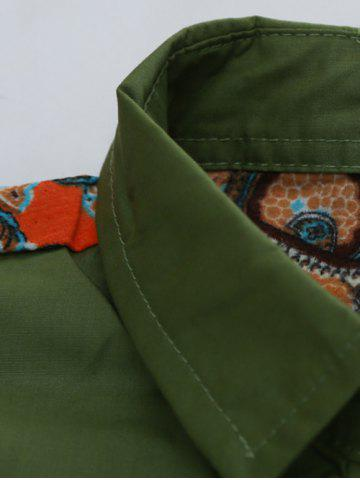 Fancy Colorful Floral Spliced Long Sleeve Pocket Shirt - XL GREEN Mobile