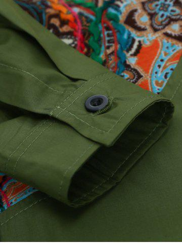 Buy Colorful Floral Spliced Long Sleeve Pocket Shirt - XL GREEN Mobile