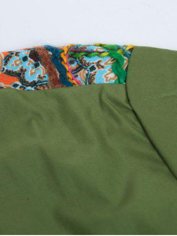 Trendy Colorful Floral Spliced Long Sleeve Pocket Shirt - XL GREEN Mobile