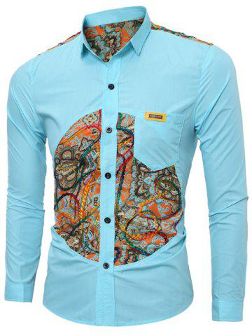 Outfit Colorful Floral Spliced Long Sleeve Pocket Shirt - L LAKE BLUE Mobile