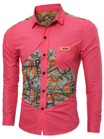 Discount Colorful Floral Spliced Long Sleeve Pocket Shirt - 2XL RED Mobile