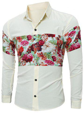 Best Floral Print Spliced Long Sleeve Shirt - L YELLOW Mobile