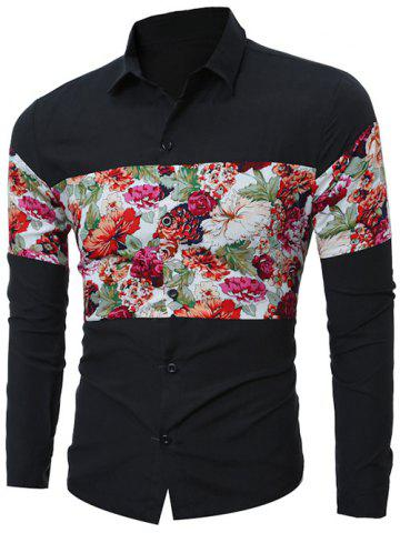 Outfit Floral Print Spliced Long Sleeve Shirt - 2XL BLACK Mobile
