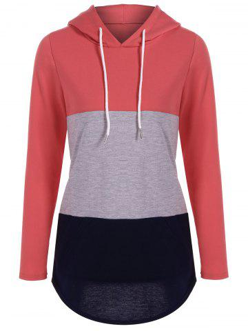 Outfits Big Pocket Pullover Drawstring Hoodie WATERMELON RED XL