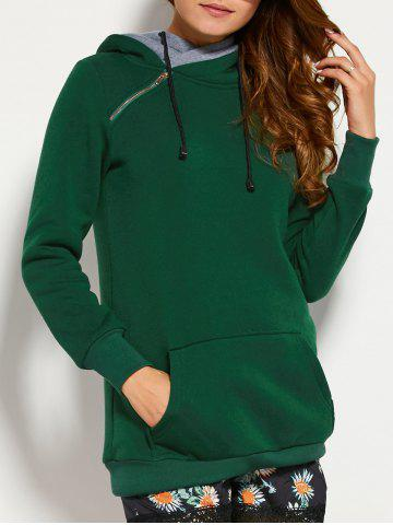 Chic Double Hooded Drawstring Hoodie with Front Pocket BLACKISH GREEN 2XL