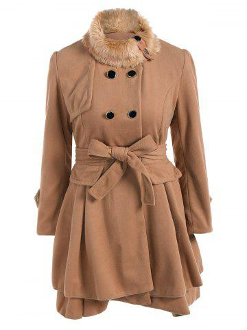 Fancy Double Breasted Furry Collar A Line Wool Coat CAMEL XL