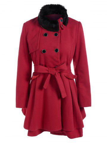 Double Breasted Furry Collar A Line Wool Coat - Red - M