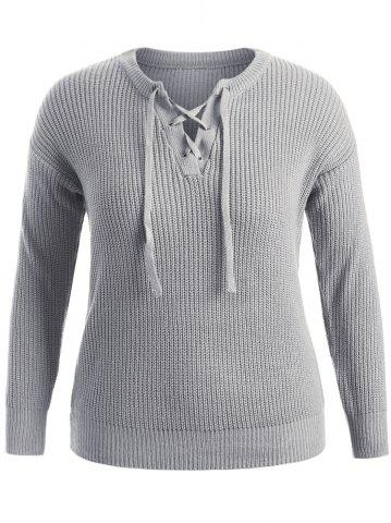 Pullover Plus Size Sweater - Gray - 2xl