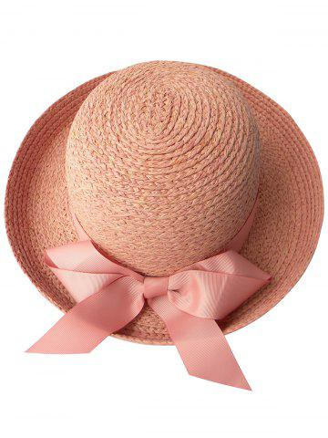 Online Casual Bowknot Bowler Straw Hat PINK