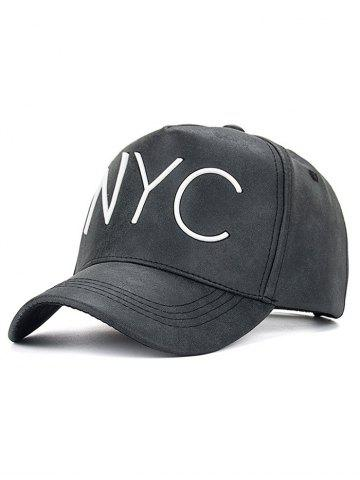 Hot Casual NYC Letter Printed PU Leather Baseball Hat BLACK