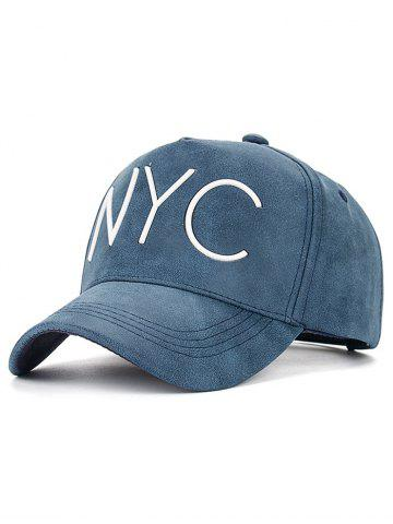 Casual NYC Letter Printed PU Leather Baseball Hat - Cadetblue - W20 Inch * L31.5 Inch