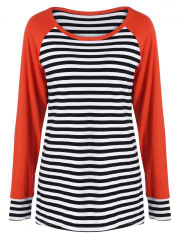 Trendy Elbow Patch Vertical Striped Tee
