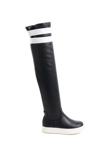 Fashion Casual PU Leather Color Block Thigh Boots