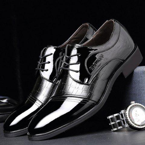 Online Patent Leather Insert Formal Shoes - 40 BLACK Mobile