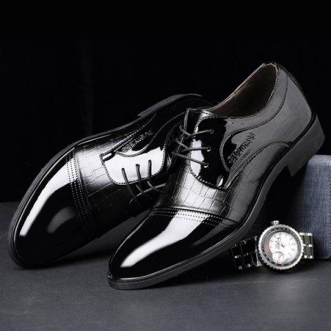 Trendy Patent Leather Insert Formal Shoes - 40 BLACK Mobile