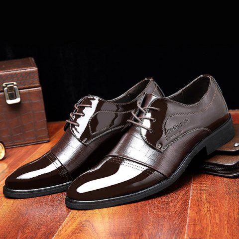 Trendy Patent Leather Insert Formal Shoes - 43 BROWN Mobile