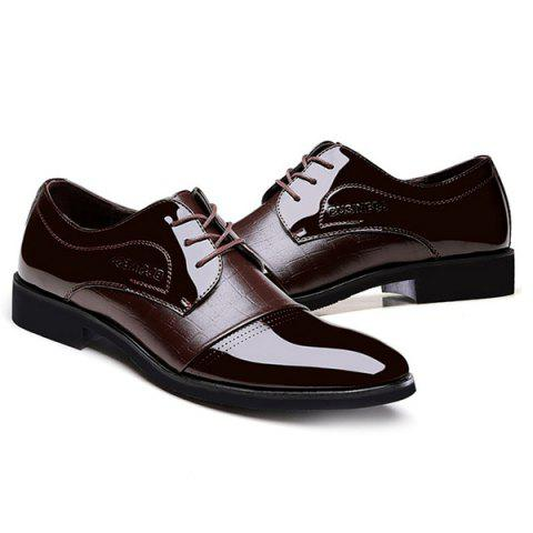 Hot Patent Leather Insert Formal Shoes - 43 BROWN Mobile
