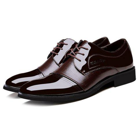 Cheap Patent Leather Insert Formal Shoes - 42 BROWN Mobile