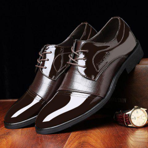 Hot Patent Leather Insert Formal Shoes - 42 BROWN Mobile
