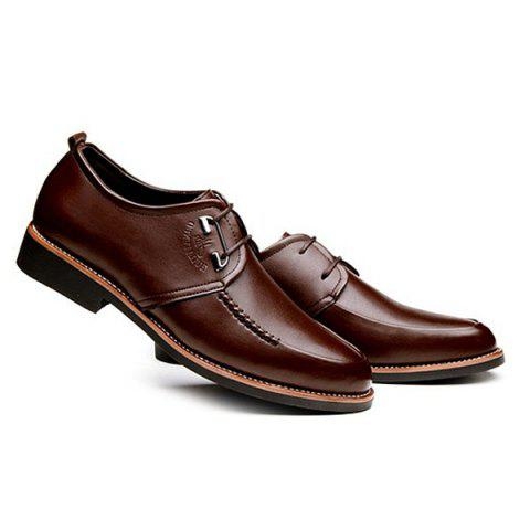 Fancy PU Leather Stitching Formal Shoes - 43 BROWN Mobile