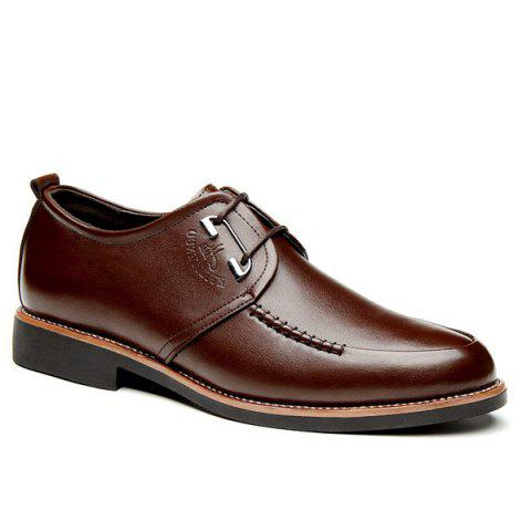 Cheap PU Leather Stitching Formal Shoes BROWN 44