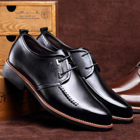Unique PU Leather Stitching Formal Shoes - 43 BLACK Mobile