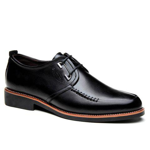 Fashion PU Leather Stitching Formal Shoes - 41 BLACK Mobile